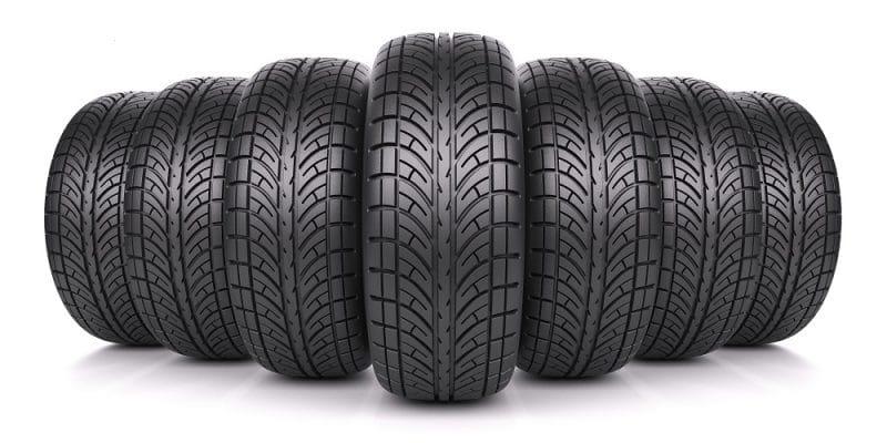 Assorted car tires