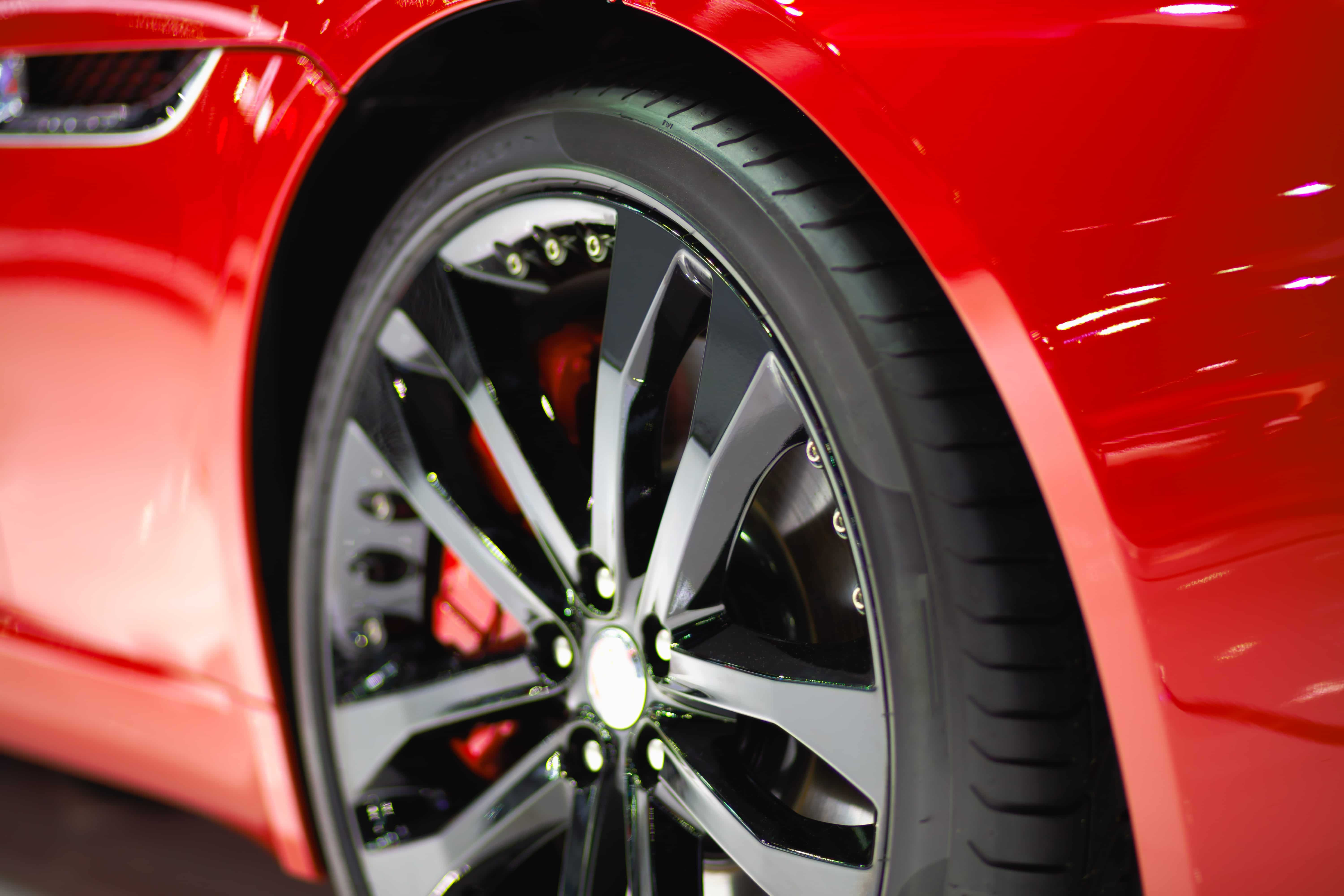 Wheel tire red car